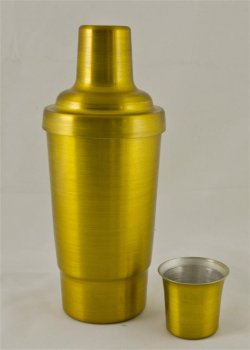 Cocktail Shaker, Gold.16oz. With top, strainer, and cap.