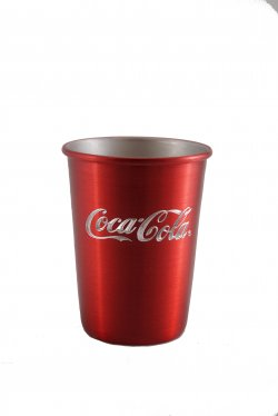 Aluminum Tumbler with Rolled Top, Red. 12 oz.