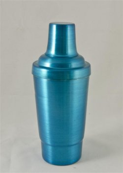 Cocktail Shaker, Blue.16oz. With top, strainer, and cap.