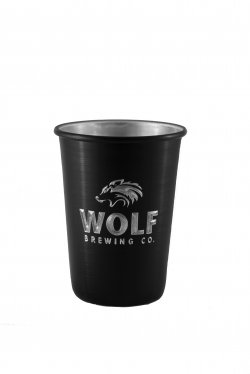 Aluminum Tumbler with Rolled Top, Black. 12 oz.