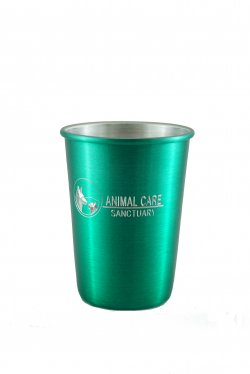Aluminum Tumbler with Rolled Top, Green. 12 oz.