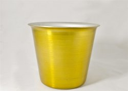 "Mini Ice Bucket, Gold. 4 1/2""."