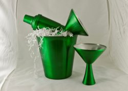 Cocktail Set, Green. Bucket, shaker, and two glasses.