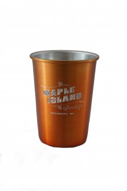 Aluminum Tumbler with Rolled Top, Orange. 12 oz.