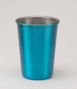 Aluminum Tumbler with Rolled Top, Blue. 12 oz.
