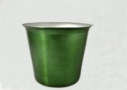 "Mini Ice Bucket, Green. 4 1/2""."