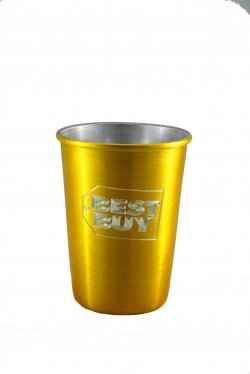 Aluminum Tumbler with Rolled Top, Gold. 12 oz.
