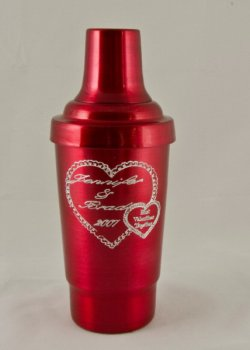 Cocktail Shaker, Red.16oz.With top, strainer, and cap.