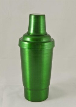 Cocktail Shaker, Green.16oz.With top, strainer, and cap.